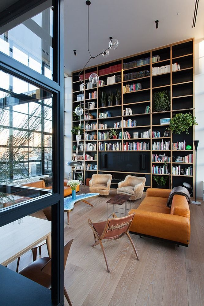 Make A Living Room A Library: Library/living Room In A Loft Apartment In NYC Designed By