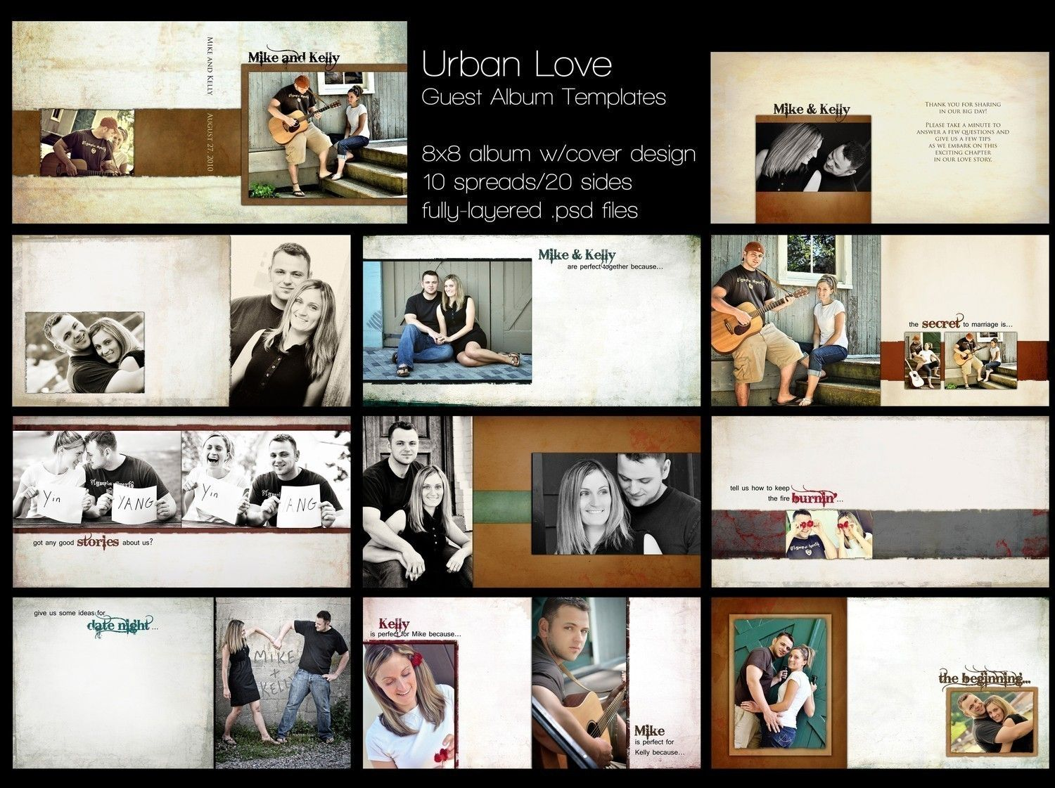 Urban love wedding guest book album template for for Wedding photo album templates in photoshop