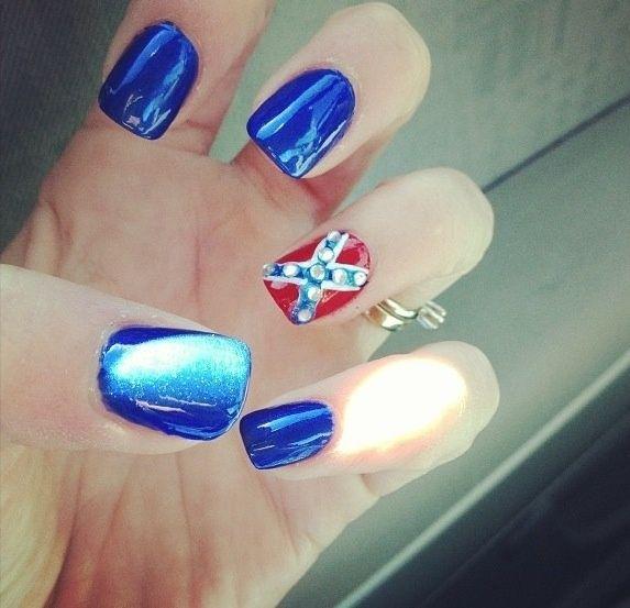 Redneck Nail Art Pinned By Baylee Brown Nail Art Redneck Nails Nails Flag Nails