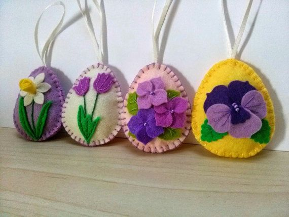 Idee Pasquali In Feltro : Felt easter decoration felt easter eggs with flowers tulip