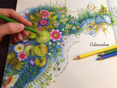 Coloring The Magical Water Lily Pond Secret Garden Coloring Book Secret Garden Colouring Colored Pencil Coloring Book
