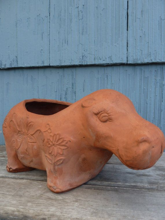 Terracotta animal planter of a hippopotamus Hippo by OatesGeneral