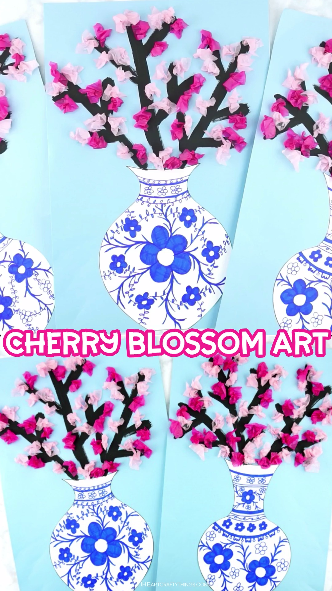How to Make a Cherry Blossom Art Project- Simple and beautiful cherry blossom art project for kids of all ages. Design