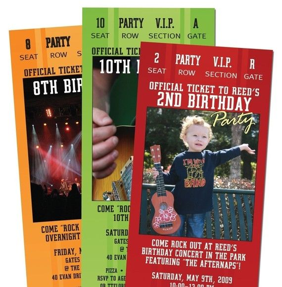15 Concert TICKET Party Invitations for Adult by PaisleyPrintsEtc