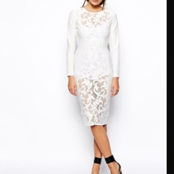 Asos white dress Size US 2 lace dress with bodysuit under, worn one time ASOS Dresses