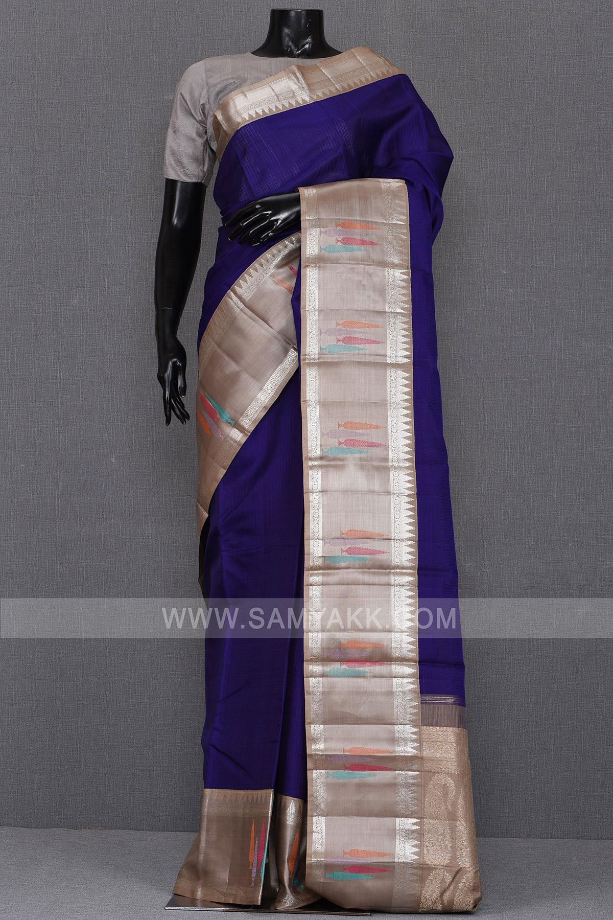 884120677069d7 ... Saree by Samyakk. Chic and fabulous, this indigo blue color six yard  kanchipuram or kanjeevaram silk is a
