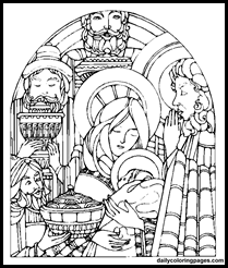 Catholic Stained Glass Window Nativity Stained Glass Coloring ...