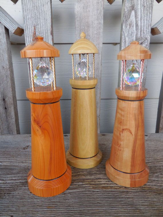 Wood Lighthouse With Light Catching Crystal, Black Locust Wood, Light  Catcher, Lighthouse, Crystal, Prism, Colorful, Rainbow