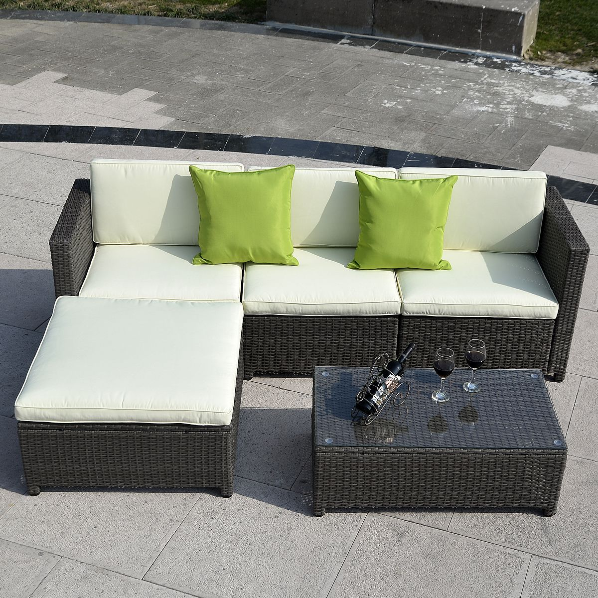 5 Pcs Wicker Rattan Sofa Cushioned Set Sectional Patio Furniture