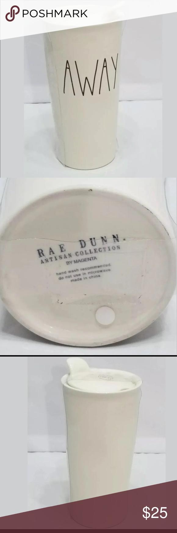 Rae Dunn 'AWAY' Travel Mug with Lid NWT Authentic Rae Dunn