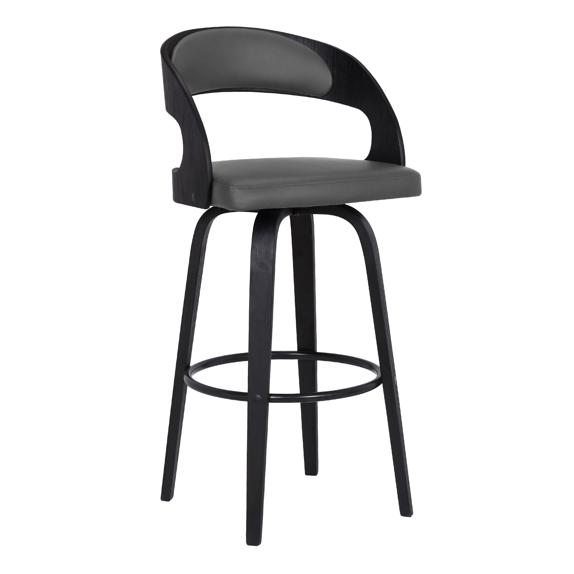 Shelly Contemporary Swivel Barstool In Black Brush Wood Finish And