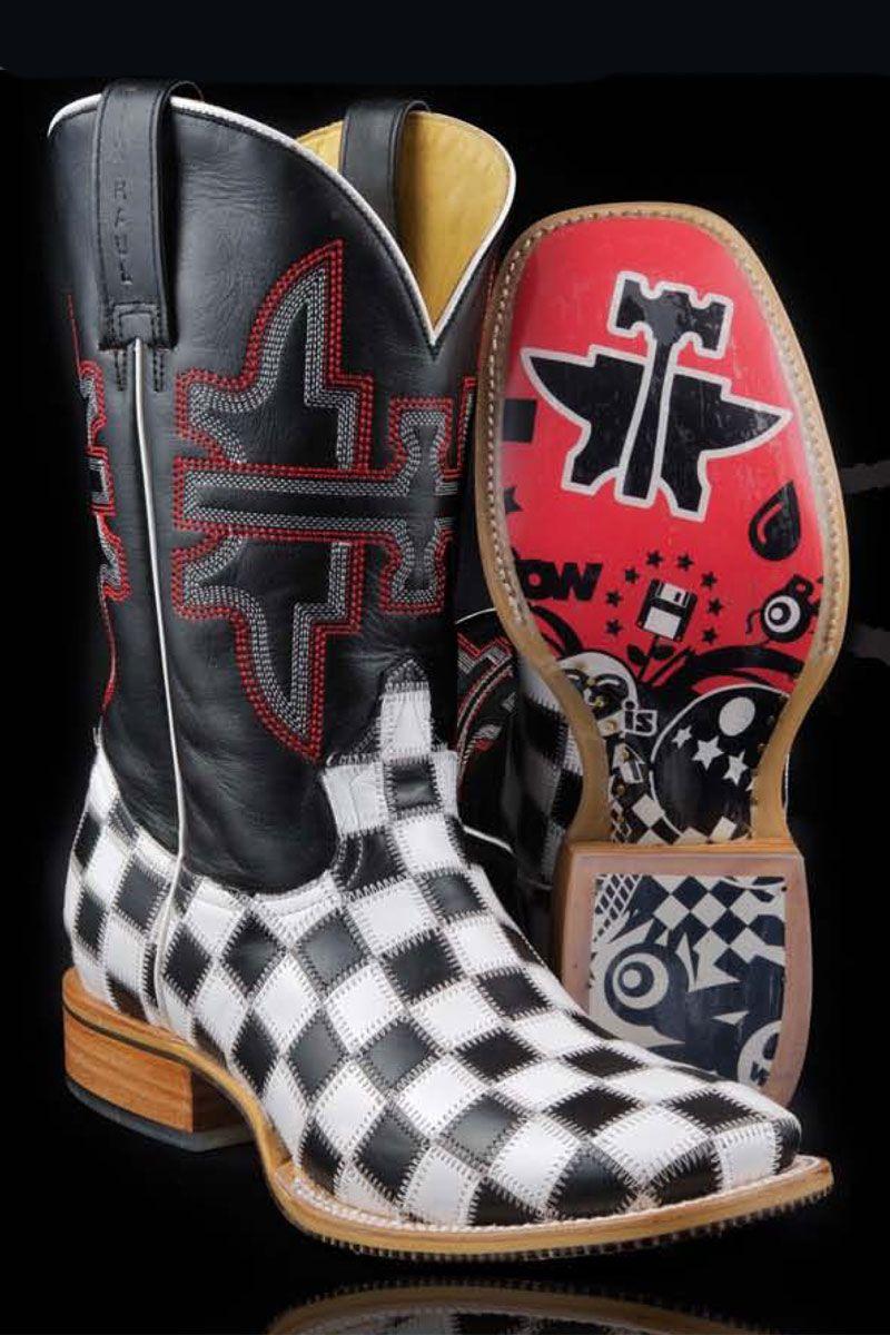 White Checkered Boom Cowboy Boots