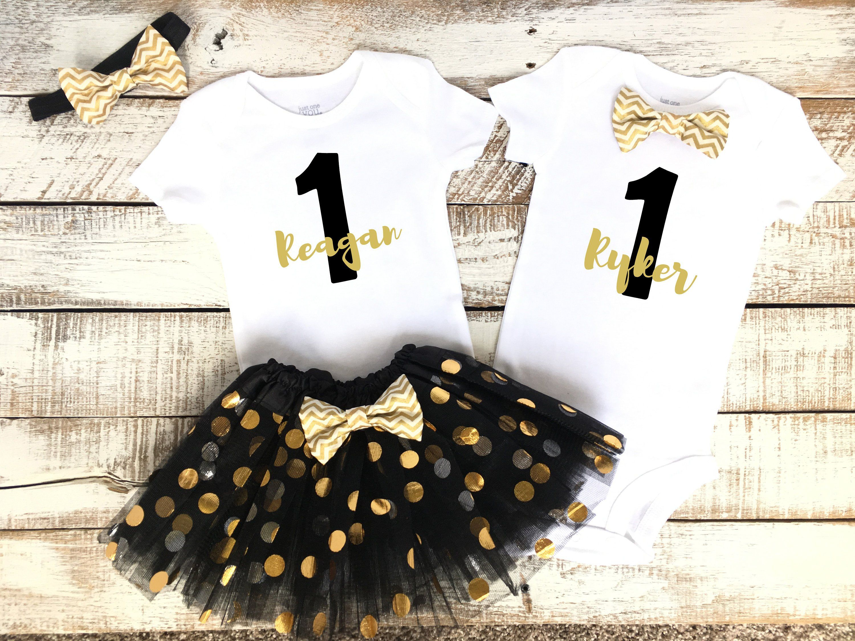 Twin Baby First Birthday Outfit