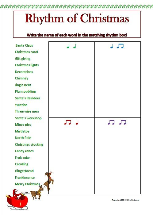 Rhythm Activity Sheets Match The Rhythm To The Words Set