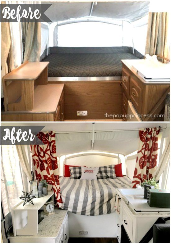 Tiffany S Pop Up Camper Makeover You Won T Even Believe This Transformation I Love That Red Accent Color