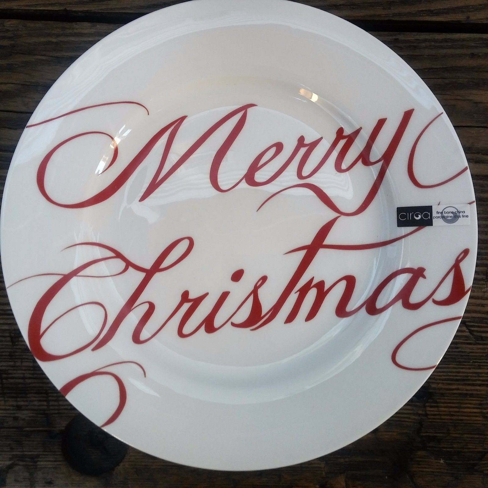 CIROA Merry Christmas 4 Dinner Plates Bone China 11 White/Red | eBay & NEW! CIROA Merry Christmas 4 Dinner Plates Bone China 11