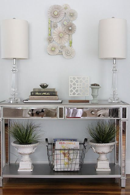 Mirrored Entry Console Glass Lamps Console Table Decorating Entrance Table Decor Mirrored Console Table