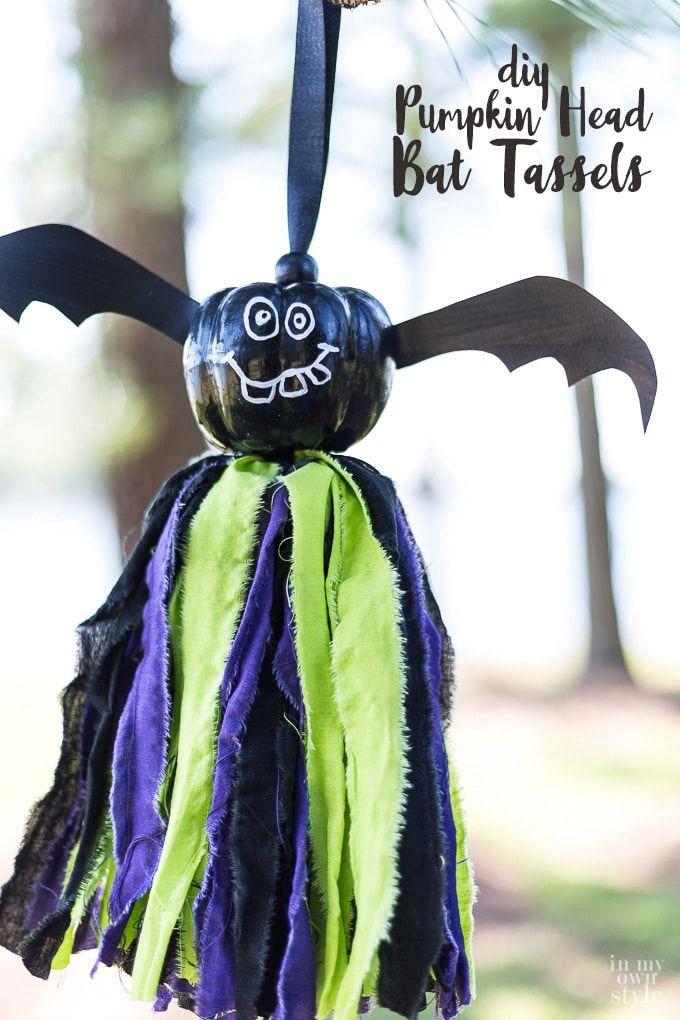 halloween decorating pumpkin head bat tassels - Non Scary Halloween Decorations