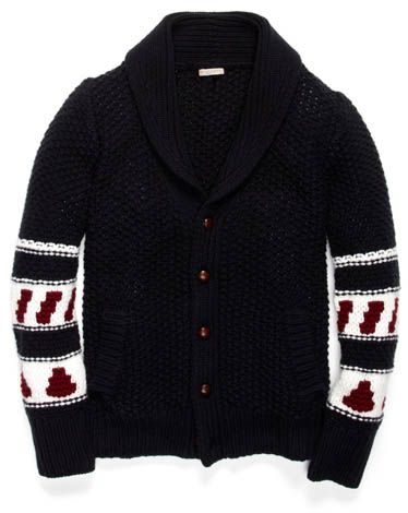 Black Wool Knit Cardigan, with Aztec Style Sleeves, by Burberry Brit. Men s  Fall 361083e6679