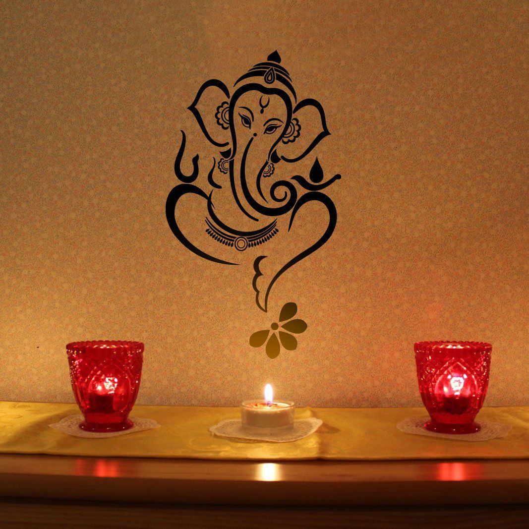 Floral Ganesha Vinyl Wall Sticker Livingroom Decor