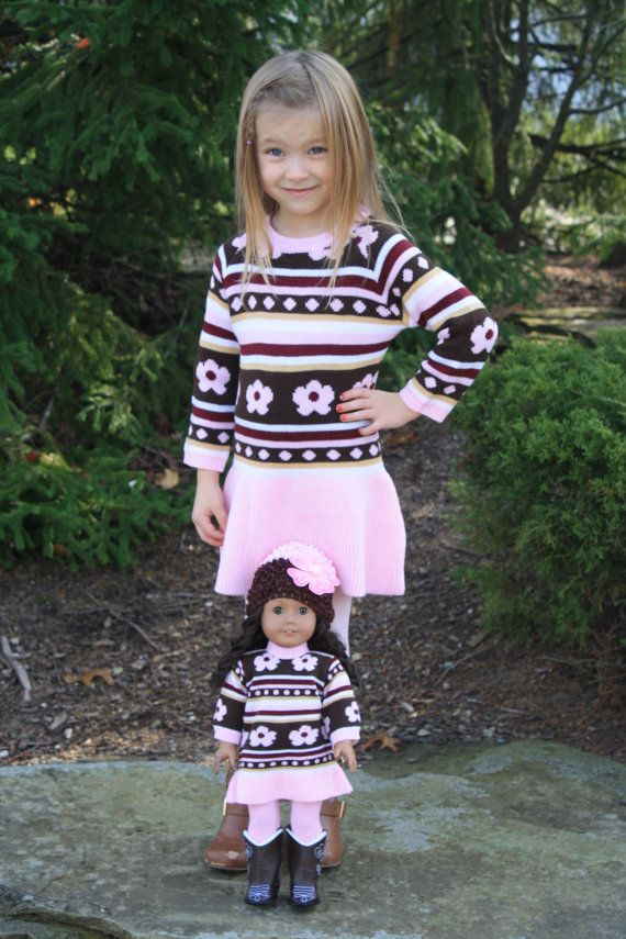 Little Girl Flower Knit Dress with Matching American Girl or Bitty Baby Dress on Etsy, $45.00