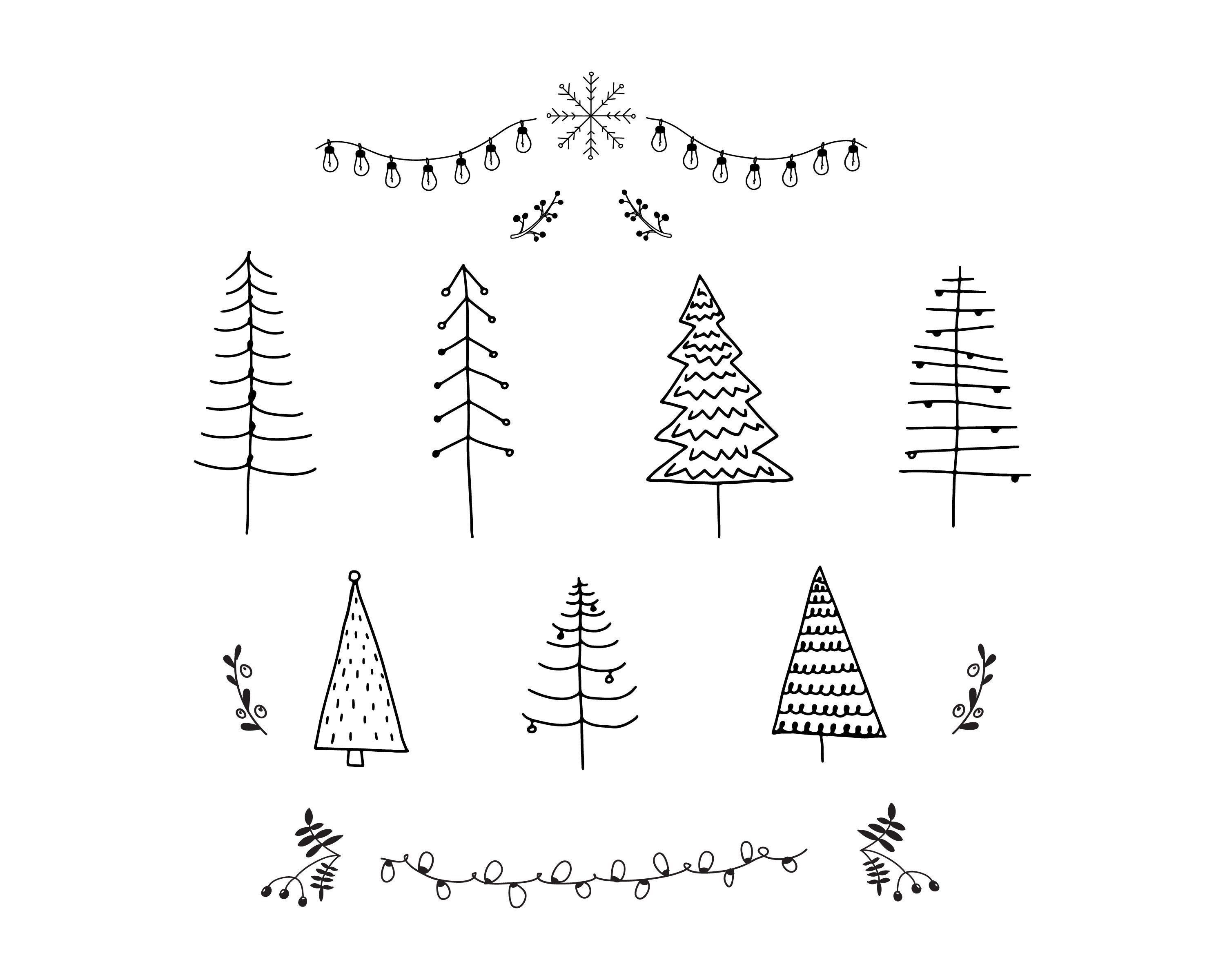 Christmas Trees Clipart Christmas Trees Svg Scandinavian Etsy In 2020 Christmas Tree Clipart Christmas Doodles Christmas Clipart