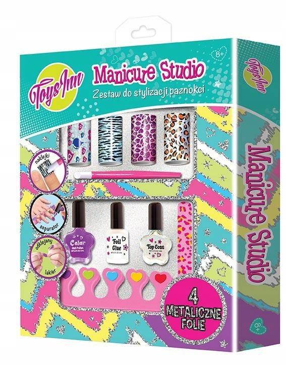 Manicure Studio Zestaw Folia Metaliczna Lakier Manicure Foil Nails Creative Toy