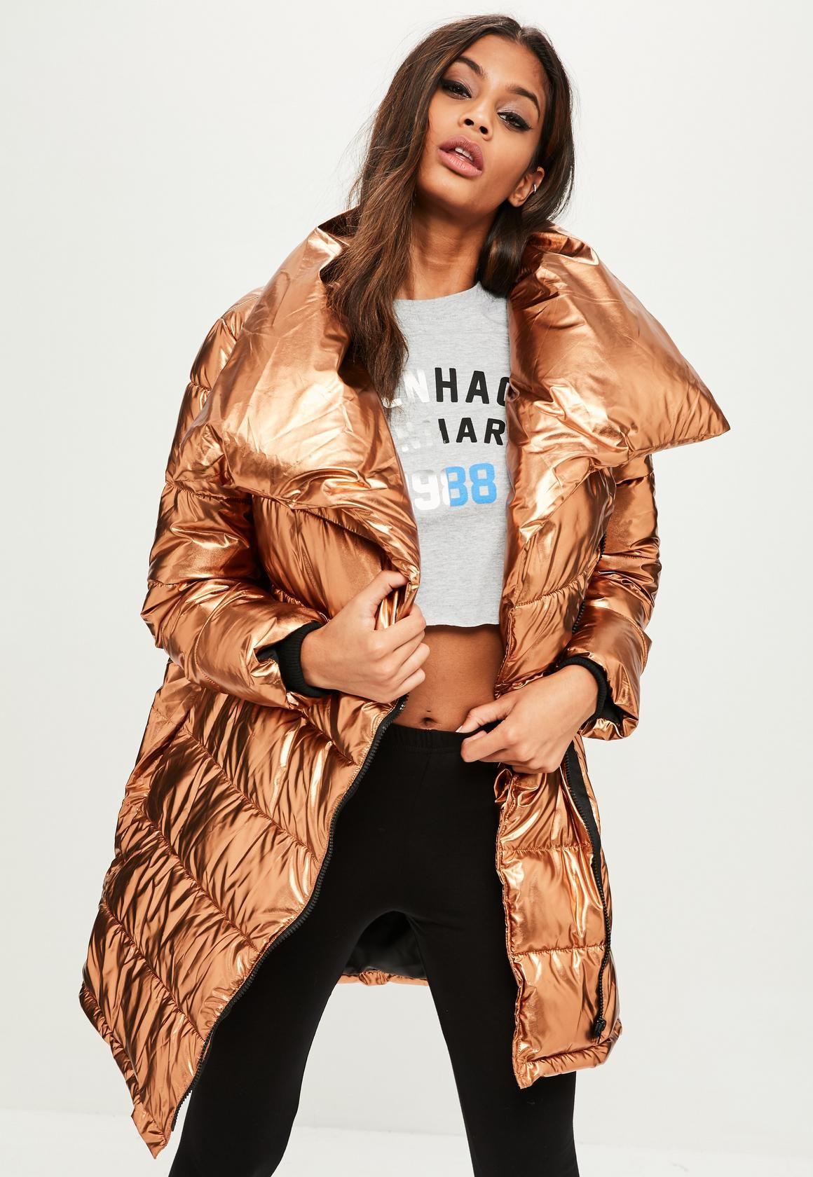 Missguided Bronze Metallic Puffer Jacket Coats Jackets Women Puffer Jacket Women Puffer Jacket Outfit [ 1680 x 1160 Pixel ]