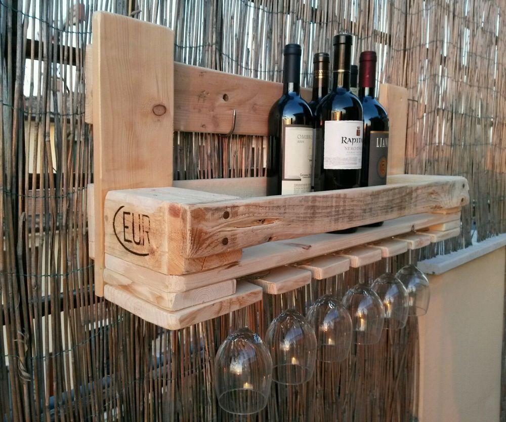 Cantinetta pallet porta bottiglie e porta calici nel 2019 for Portabottiglie vino fai da te