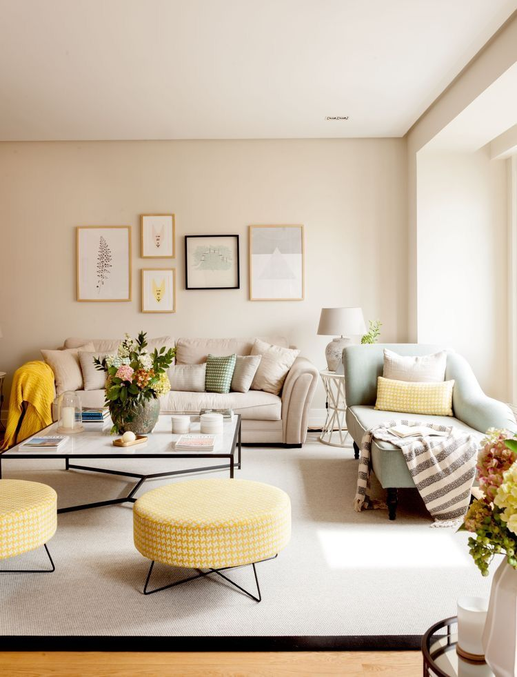 Pin By Yola Tyas On Decor Yellow Walls Living Room Beige Living Rooms Living Room Decor Apartment