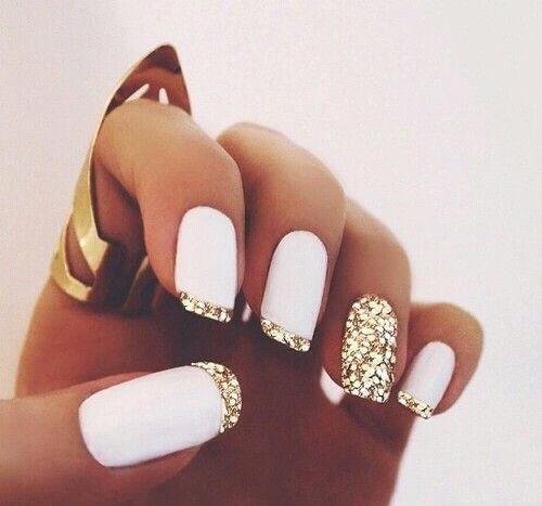 Sweet beautiful Fashion Dorado Oro White Nails Lovely