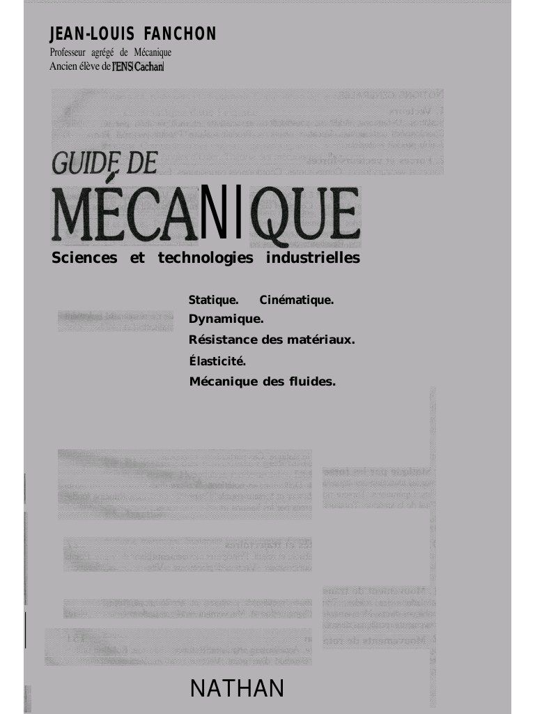Fichier Pdf Guide De Mecanique Fanchon Pdf Technology Genies Books