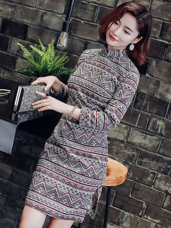 5193e6e12e Winter Long Sleeve Mid Qipao   Cheongsam Dress in Geometric Print ...
