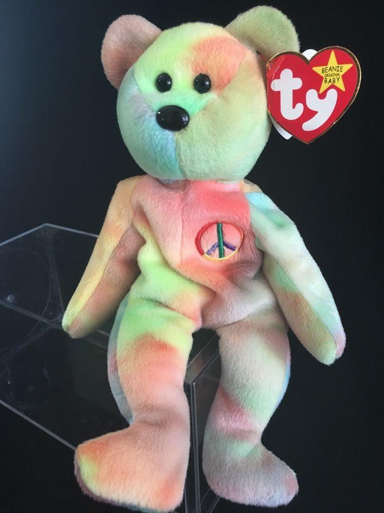 Ty Beanie Babies Baby Peace Retire W Swing Tag Error   SEVERAL TUSH TAG  errors  46dcecc683e