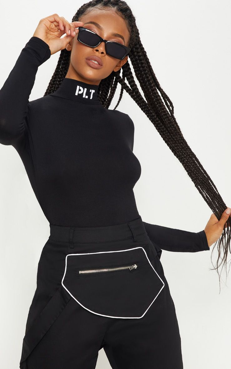 09388d87045 Black Slogan High Neck Bodysuit in 2019   Products   High neck ...