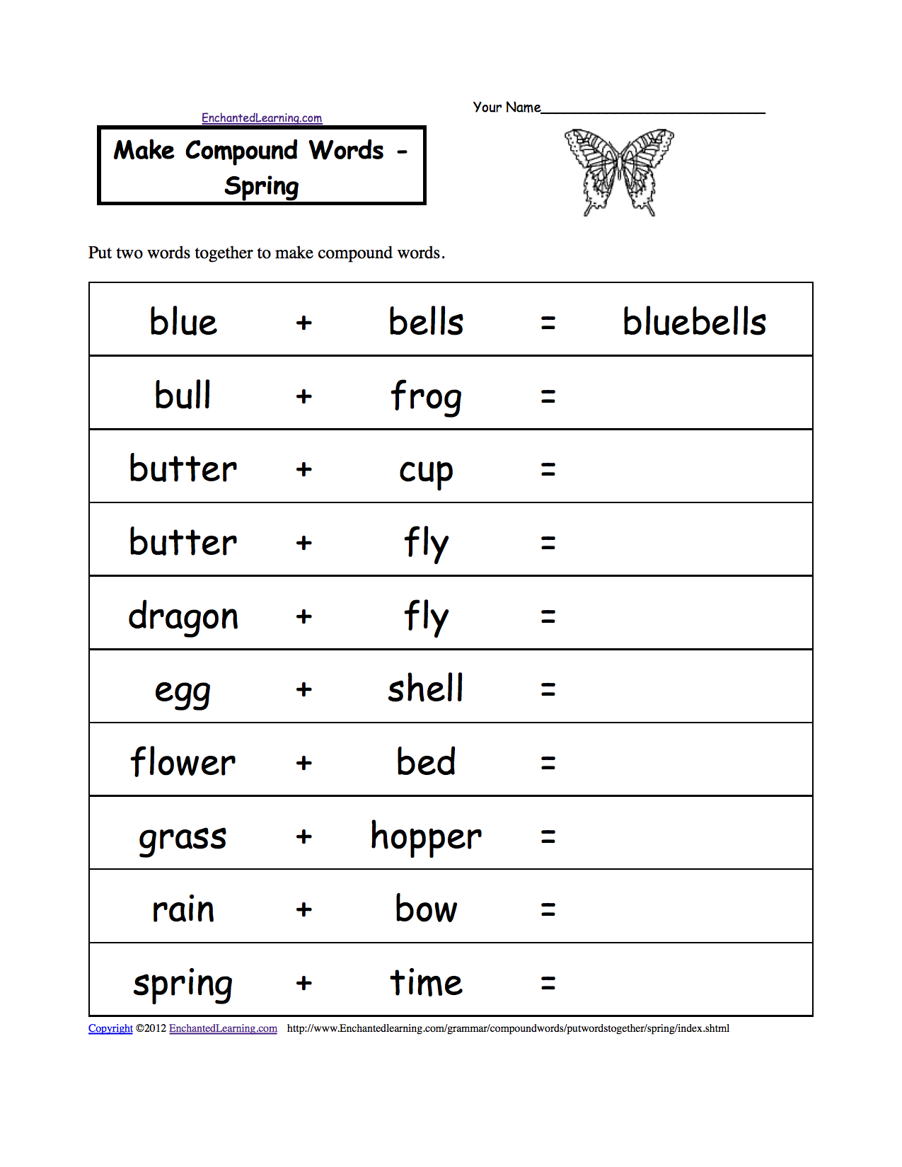 Spelling Activities: Food Theme Page at EnchantedLearning.com   Compound words  worksheets [ 1649 x 1275 Pixel ]
