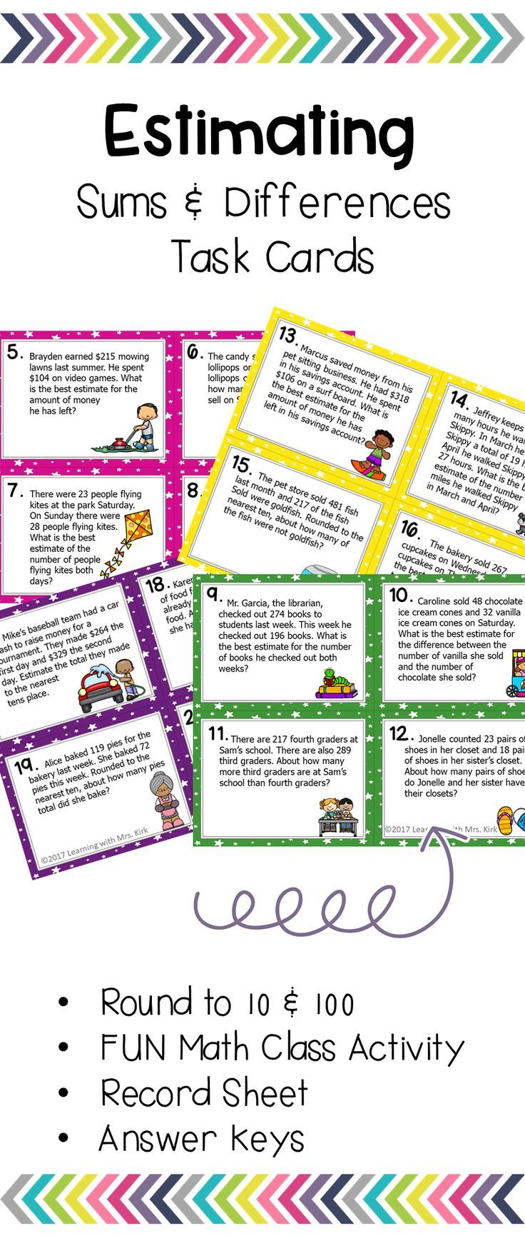These Task Cards Are Perfect For Estimating Solutions To Addition And Subtraction Problems Round To Tens And Hundr Task Cards Guided Math Teaching Mathematics