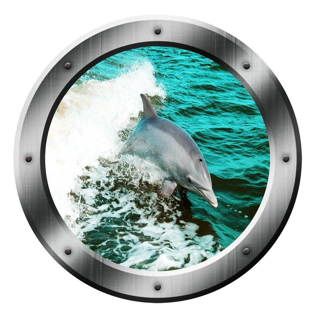 Vwaq Dolphin Porthole Wall Decal Ocean Wall Sticker Animal Nature