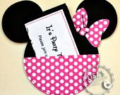 RESERVED for Amanda- Custom Red and White Polka Dot Minnie Mouse Birthday Invitations Handmade by Lisa