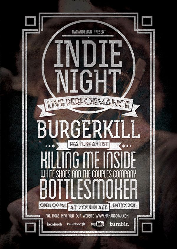 Indie Typography FlyerPoster Vol  Vintage Graphic