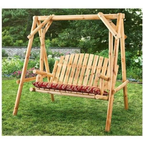 Wood Porch Swing Log Style Freestanding 2 Seater Outdoor Yard Bench Hammock Woodporchswing