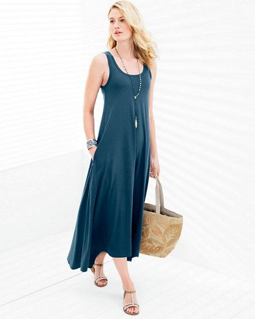b497070e2f8d We're head over heels in love with this maxi-dress fabric — a cotton/modal  mix that holds deep color beautifully and glides over the body like  nobody's ...