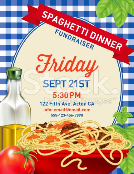 Spaghetti Dinner Invitation Poster Template on blue plaid Background
