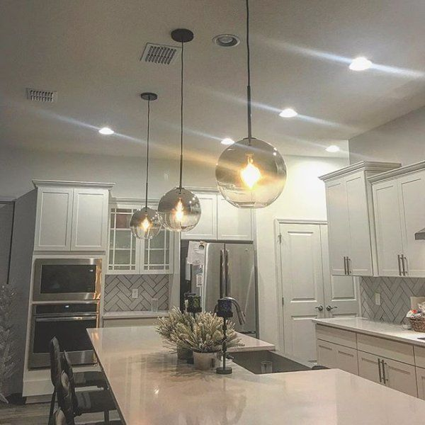 30 Beautiful And Inspiring Light Filled Kitchens With: Sculptural Glass Globe Pendant - Metallic Ombre