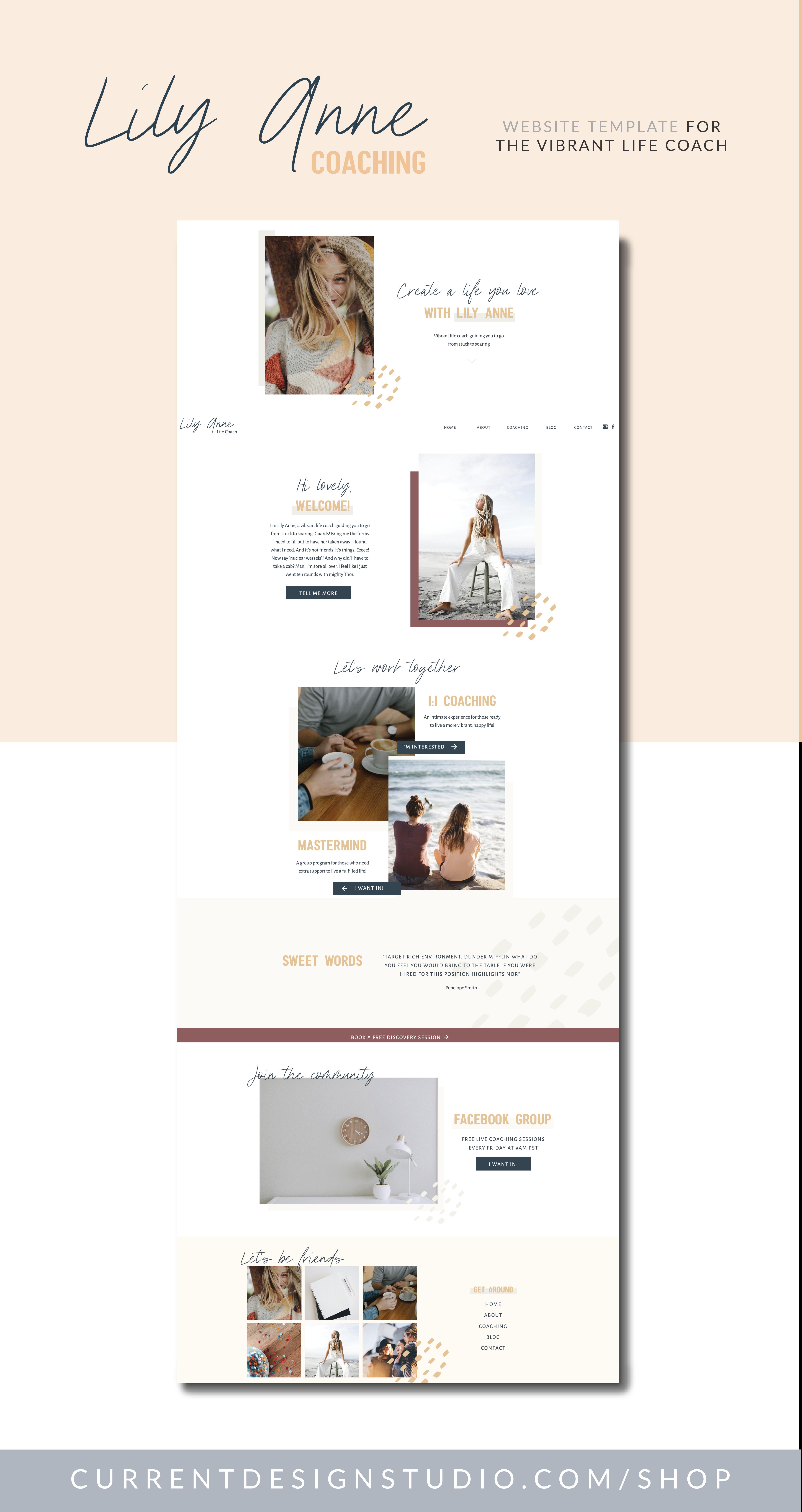 Life Coach Website Template Feminine Website Design Beautiful Website Design Coach Website