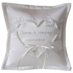 Personalised White Applique Heart Embroidered Wedding Ring Cushion Ayedo