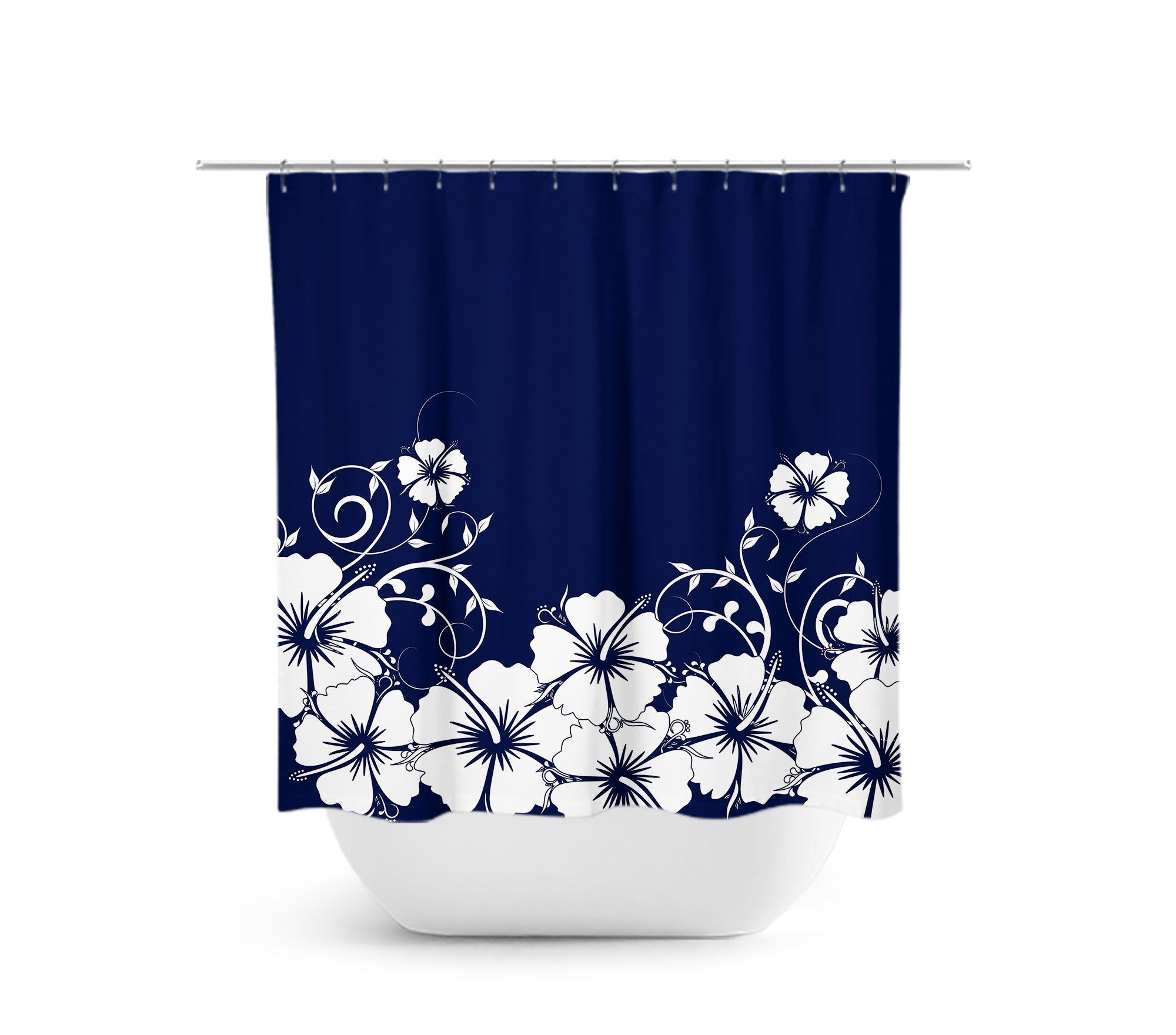 Blue White Shower Curtain Hibiscus Floral Bath Curtain Etsy In 2020 Blue Bathroom Decor Girl Bathroom Decor Blue Apartment Decor