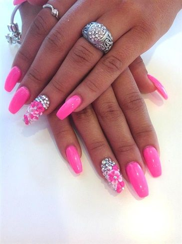 pink long gel nails - glitter style