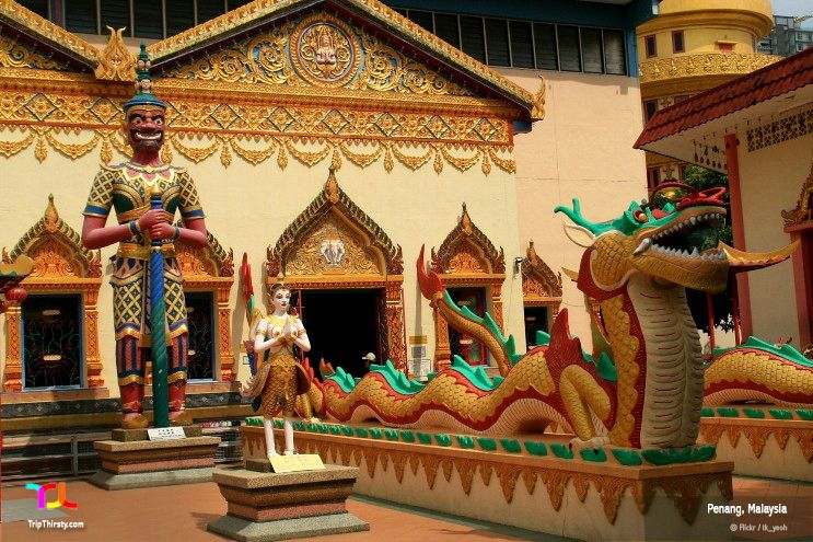 Wat Chaiya Mangkalaram Temple, Penang, Malaysia, houses the third largest reclining Buddha in the world.