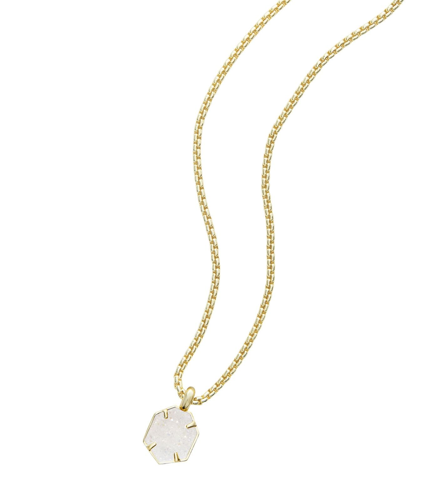 Kendra scott teo pendant necklace in iridescent drusy and gold plated